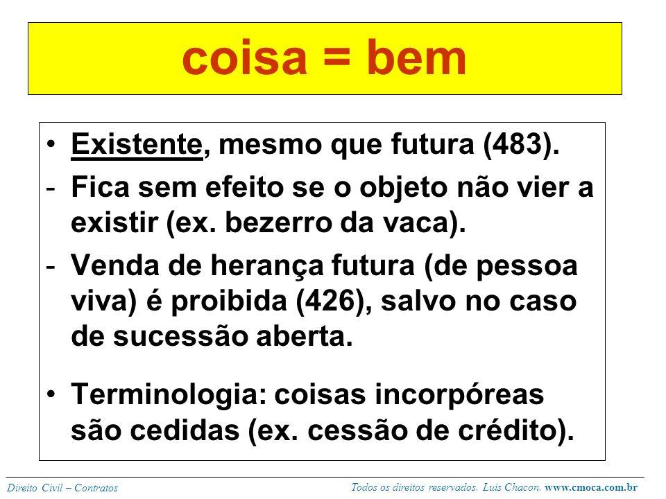 Todos os direitos reservados. Luis Chacon. www.cmoca.com.br Direito Civil – Contratos ELEMENTO SUBJETIVO A vontade da parte é de transferir ou adquiri