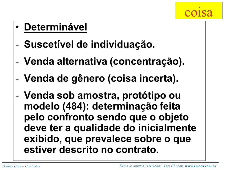 Todos os direitos reservados. Luis Chacon. www.cmoca.com.br Direito Civil – Contratos coisa = bem Existente, mesmo que futura (483). -Fica sem efeito