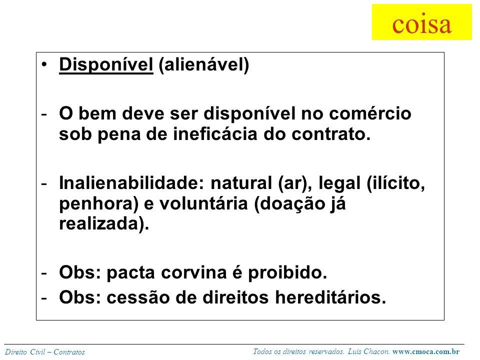 Todos os direitos reservados. Luis Chacon. www.cmoca.com.br Direito Civil – Contratos coisa Determinável -Suscetível de individuação. -Venda alternati