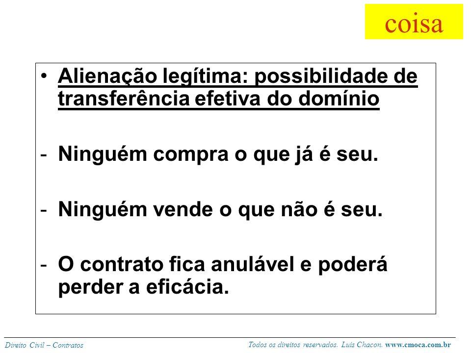 Todos os direitos reservados. Luis Chacon. www.cmoca.com.br Direito Civil – Contratos Disponível (alienável) -O bem deve ser disponível no comércio so