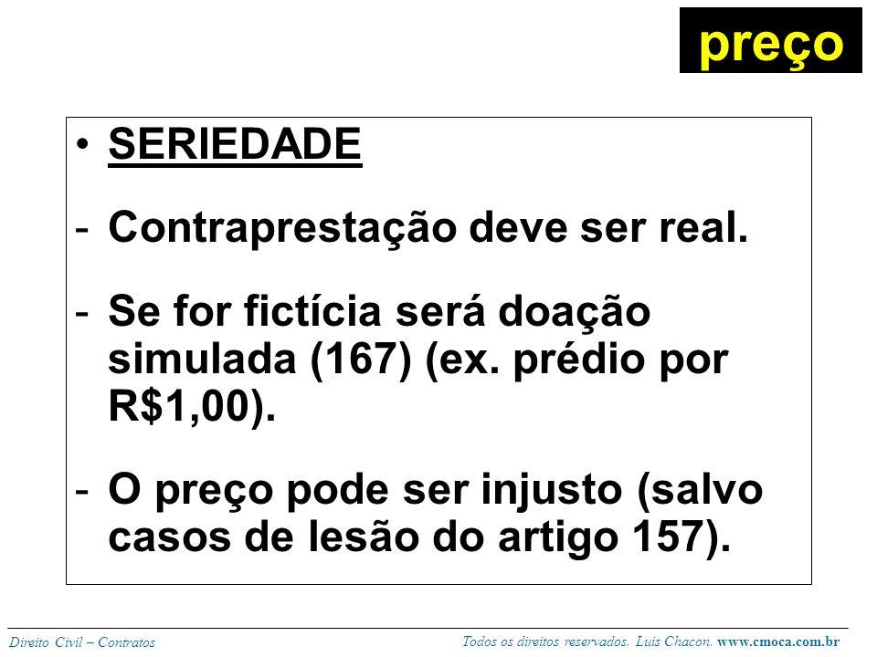Todos os direitos reservados. Luis Chacon. www.cmoca.com.br Direito Civil – Contratos No momento do pacto deve ser previsto em dinheiro ou por documen