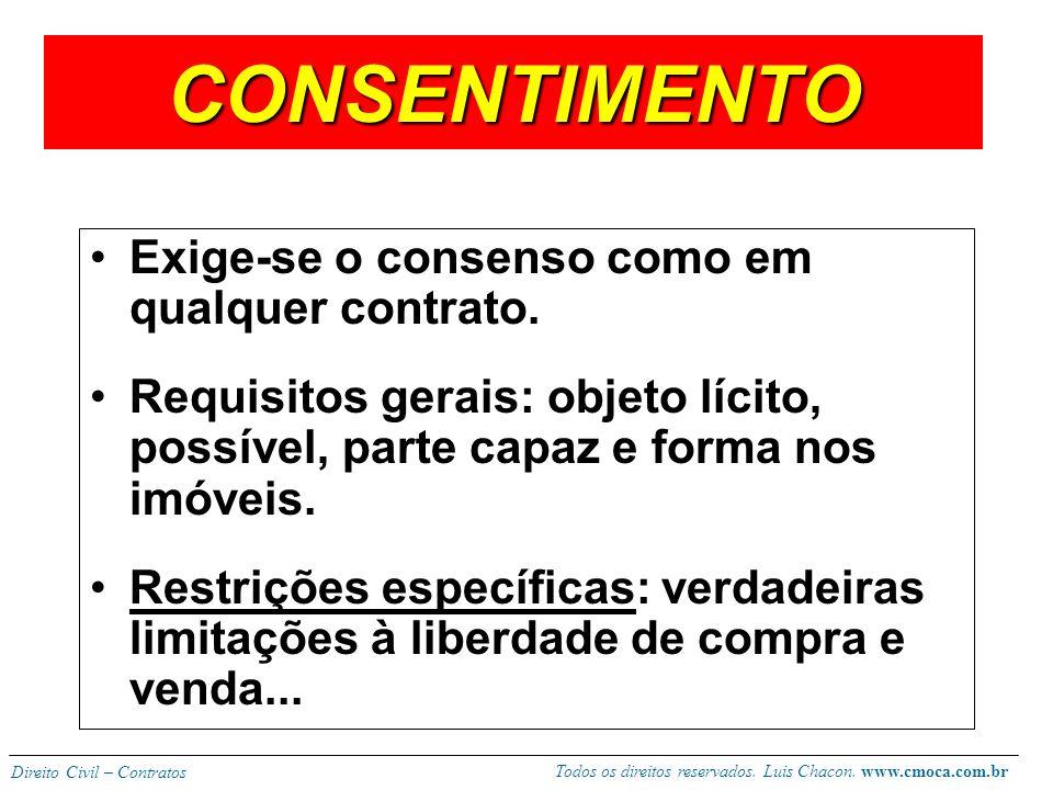 Todos os direitos reservados. Luis Chacon. www.cmoca.com.br Direito Civil – Contratos CERTEZA O valor deve ser certo e fixado pelas partes sob pena de