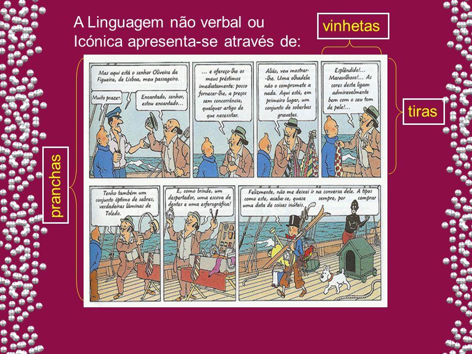 vinhetas tiras pranchas A Linguagem não verbal ou Icónica apresenta-se através de: