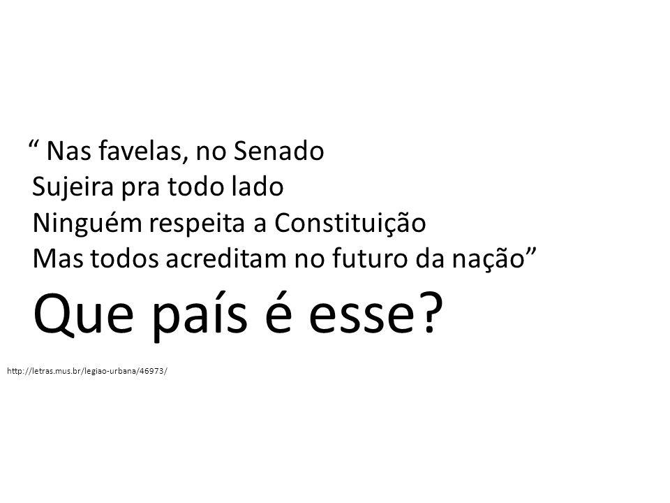 Nas favelas, no Senado Sujeira pra todo lado Ninguém respeita a Constituição Mas todos acreditam no futuro da nação Que país é esse? http://letras.mus