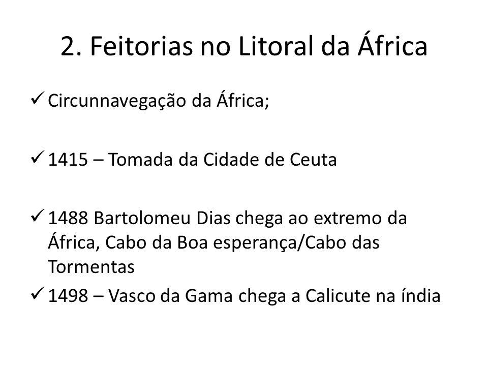 2. Feitorias no Litoral da África Circunnavegação da África; 1415 – Tomada da Cidade de Ceuta 1488 Bartolomeu Dias chega ao extremo da África, Cabo da