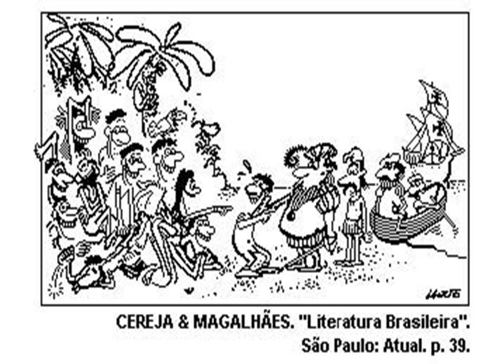 A charge I.ilustra a maneira formal dos navegantes portugueses frente à ingenuidade dos índios.