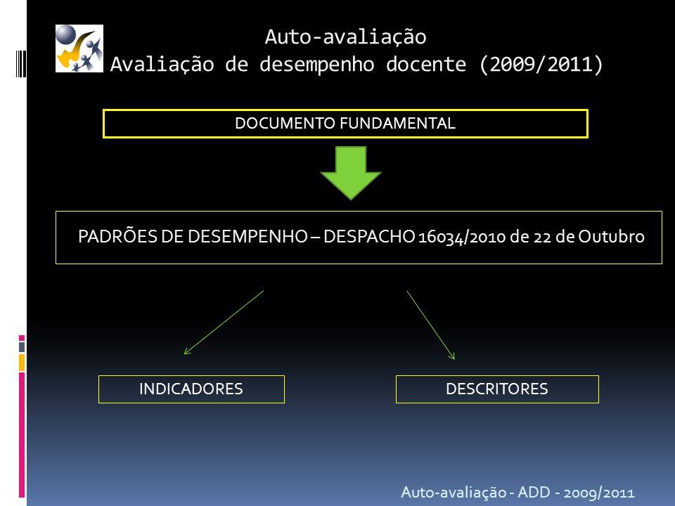 Auto-avaliação Avaliação de desempenho docente (2009/2011) Auto-avaliação - ADD - 2009/2011 PADRÕES DE DESEMPENHO – DESPACHO 16034/2010 de 22 de Outub