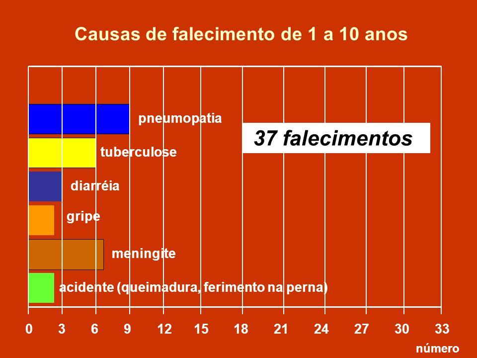 pneumopatia tuberculose 0 3 6 9 12 15 18 21 24 27 30 33 número diarréia Causas de falecimento de 1 a 10 anos gripe meningite acidente (queimadura, fer