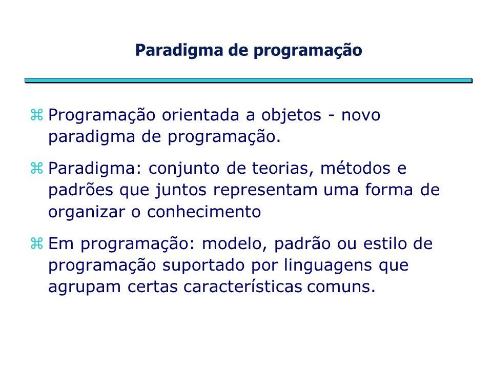 Paradigma de programação Programação orientada a objetos - novo paradigma de programação.