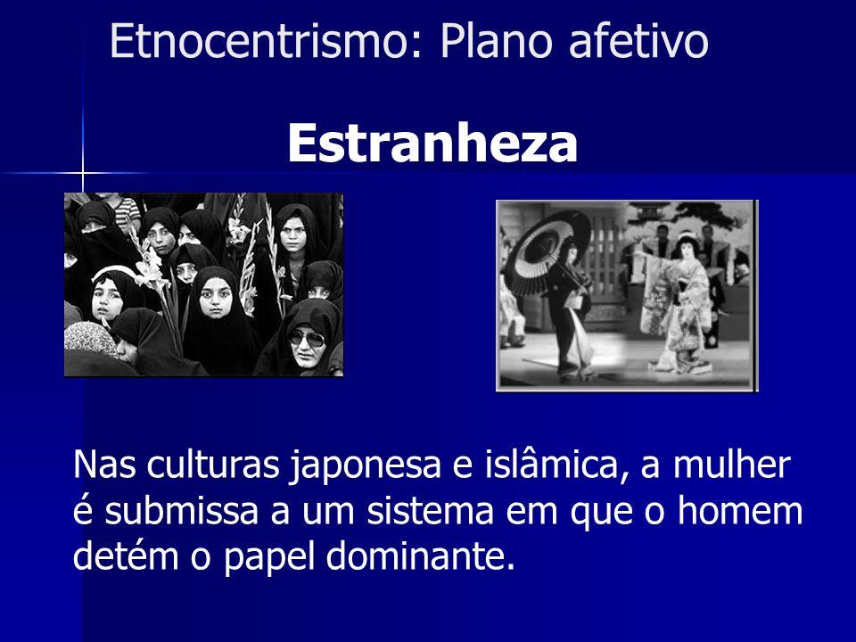Etnocentrismo: Plano afetivo Estranheza Nas culturas japonesa e islâmica, a mulher é submissa a um sistema em que o homem detém o papel dominante.