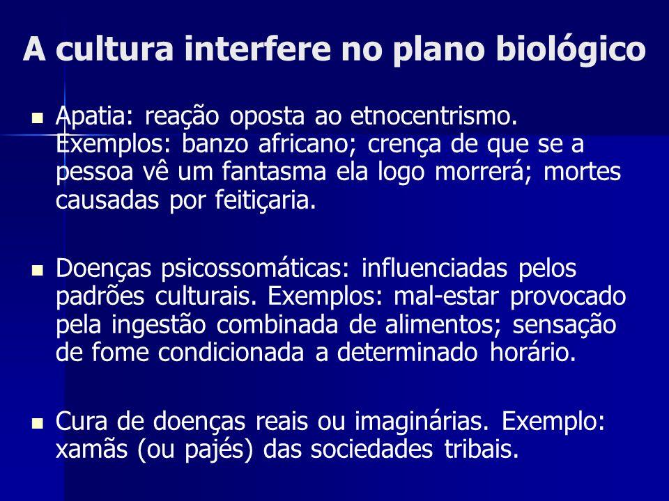 A cultura interfere no plano biológico Apatia: reação oposta ao etnocentrismo. Exemplos: banzo africano; crença de que se a pessoa vê um fantasma ela