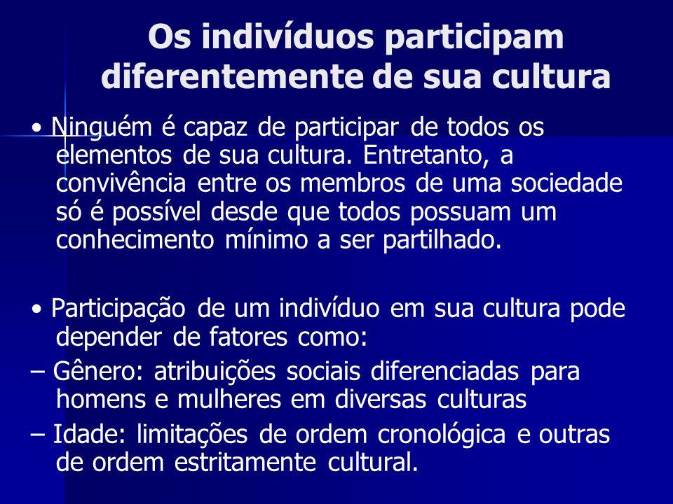 Os indivíduos participam diferentemente de sua cultura Ninguém é capaz de participar de todos os elementos de sua cultura. Entretanto, a convivência e