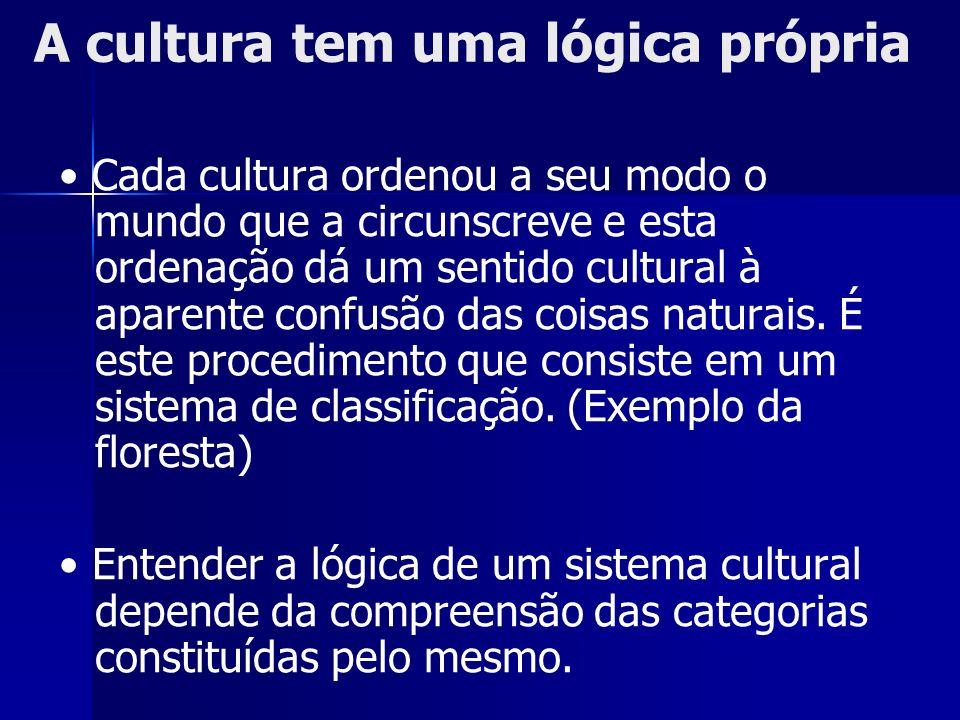 Cada cultura ordenou a seu modo o mundo que a circunscreve e esta ordenação dá um sentido cultural à aparente confusão das coisas naturais. É este pro