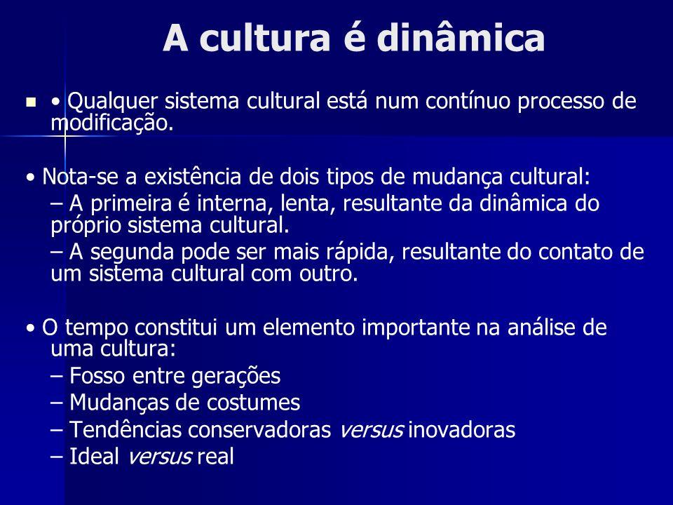 A cultura é dinâmica Qualquer sistema cultural está num contínuo processo de modificação. Nota-se a existência de dois tipos de mudança cultural: – A