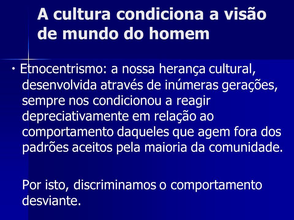 A cultura condiciona a visão de mundo do homem Etnocentrismo: a nossa herança cultural, desenvolvida através de inúmeras gerações, sempre nos condicio