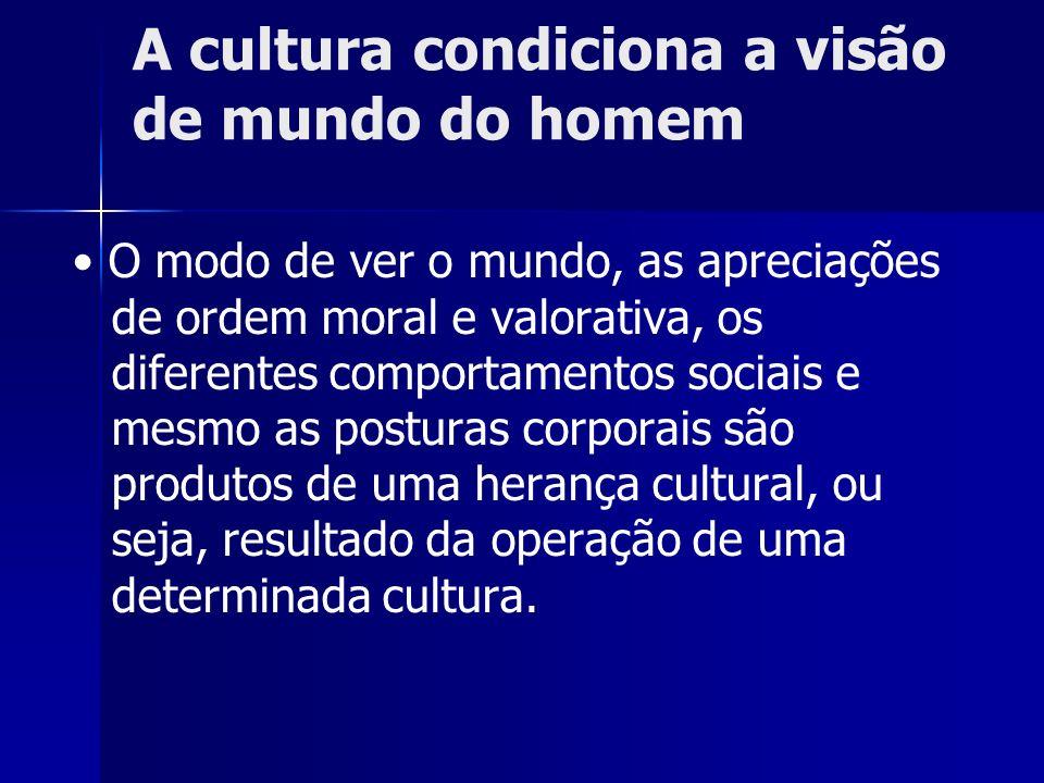 A cultura condiciona a visão de mundo do homem O modo de ver o mundo, as apreciações de ordem moral e valorativa, os diferentes comportamentos sociais