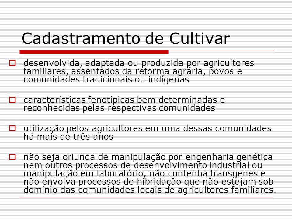 Cadastramento de Cultivar desenvolvida, adaptada ou produzida por agricultores familiares, assentados da reforma agrária, povos e comunidades tradicio