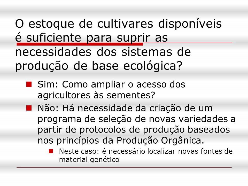 O estoque de cultivares disponíveis é suficiente para suprir as necessidades dos sistemas de produção de base ecológica? Sim: Como ampliar o acesso do