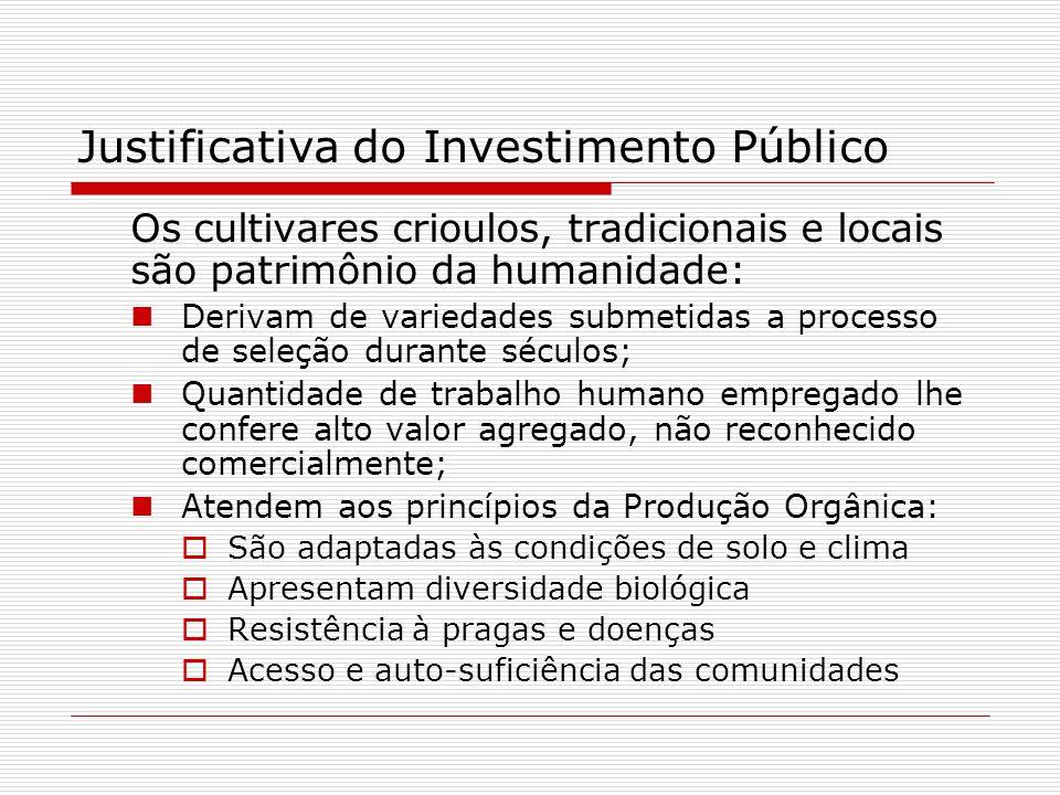 Justificativa do Investimento Público Os cultivares crioulos, tradicionais e locais são patrimônio da humanidade: Derivam de variedades submetidas a p