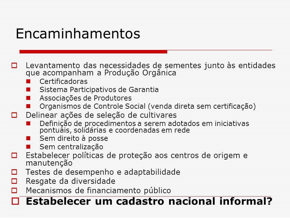 Encaminhamentos Levantamento das necessidades de sementes junto às entidades que acompanham a Produção Orgânica Certificadoras Sistema Participativos