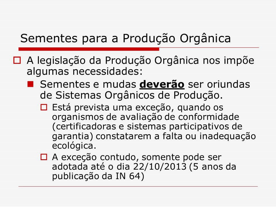 Sementes para a Produção Orgânica A legislação da Produção Orgânica nos impõe algumas necessidades: Sementes e mudas deverão ser oriundas de Sistemas