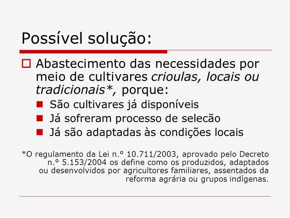 Possível solução: Abastecimento das necessidades por meio de cultivares crioulas, locais ou tradicionais*, porque: São cultivares já disponíveis Já so
