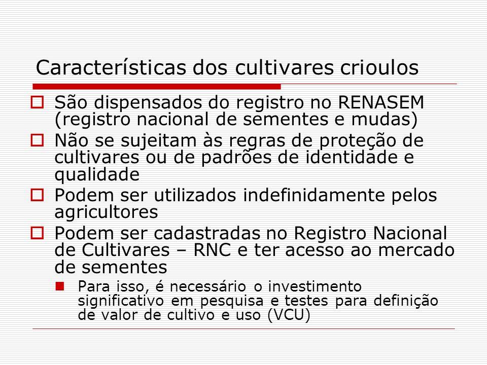 Características dos cultivares crioulos São dispensados do registro no RENASEM (registro nacional de sementes e mudas) Não se sujeitam às regras de pr
