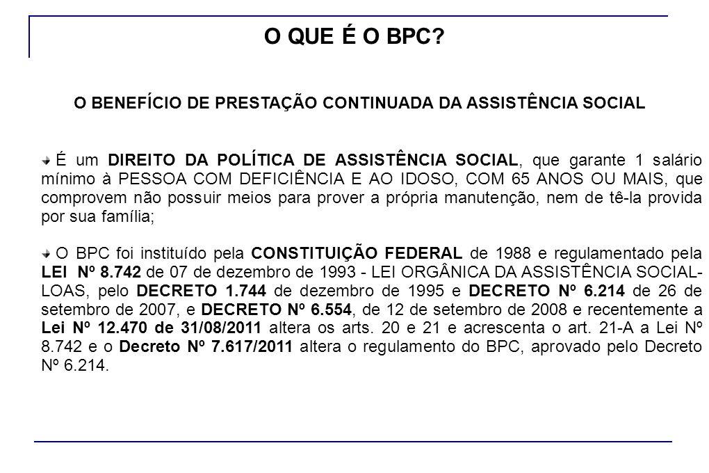 O BPC integra a PROTEÇÃO SOCIAL BÁSICA no âmbito do SISTEMA ÚNICO DE ASSISTÊNCIA SOCIAL-SUAS.