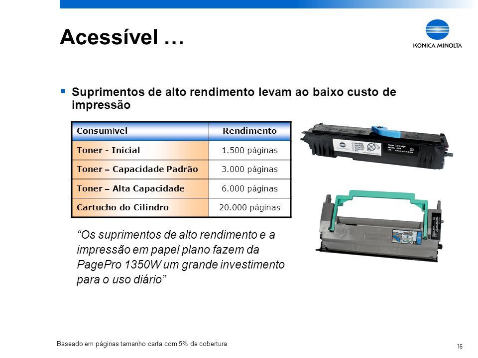 16 Acessível … Suprimentos de alto rendimento levam ao baixo custo de impressão Consum í velRendimento Toner - Inicial1.500 p á ginas Toner – Capacida