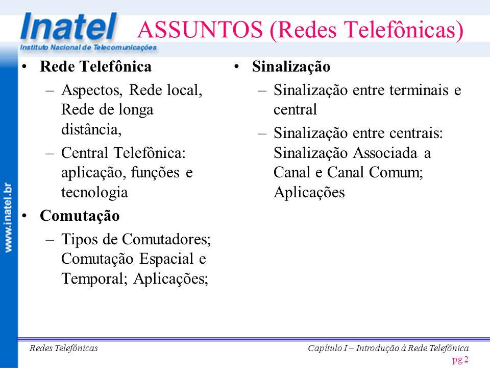 CAPÍTULO I REDE TELEFÔNICA Carlos Roberto dos Santos