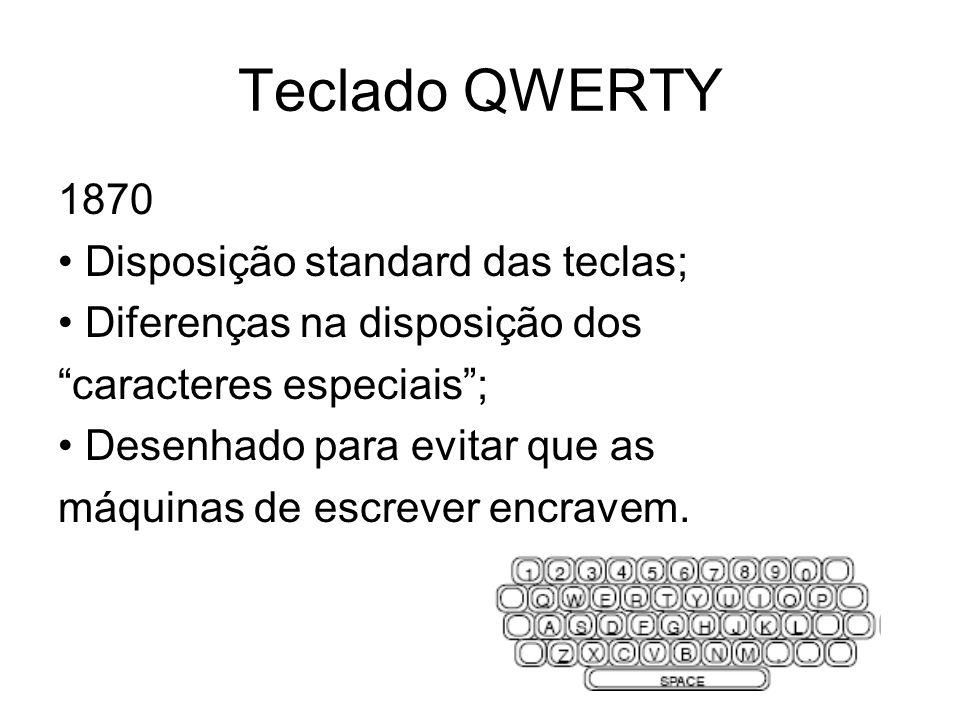 Teclado QWERTY 1870 Disposição standard das teclas; Diferenças na disposição dos caracteres especiais; Desenhado para evitar que as máquinas de escrev