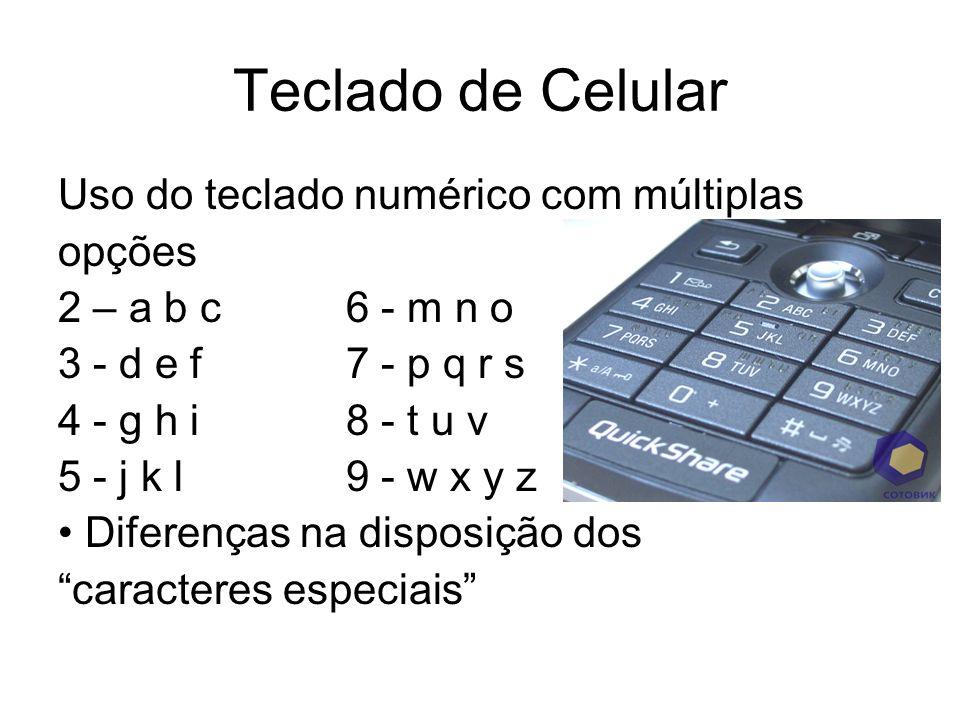 Teclado de Celular Uso do teclado numérico com múltiplas opções 2 – a b c 6 - m n o 3 - d e f 7 - p q r s 4 - g h i 8 - t u v 5 - j k l 9 - w x y z Di