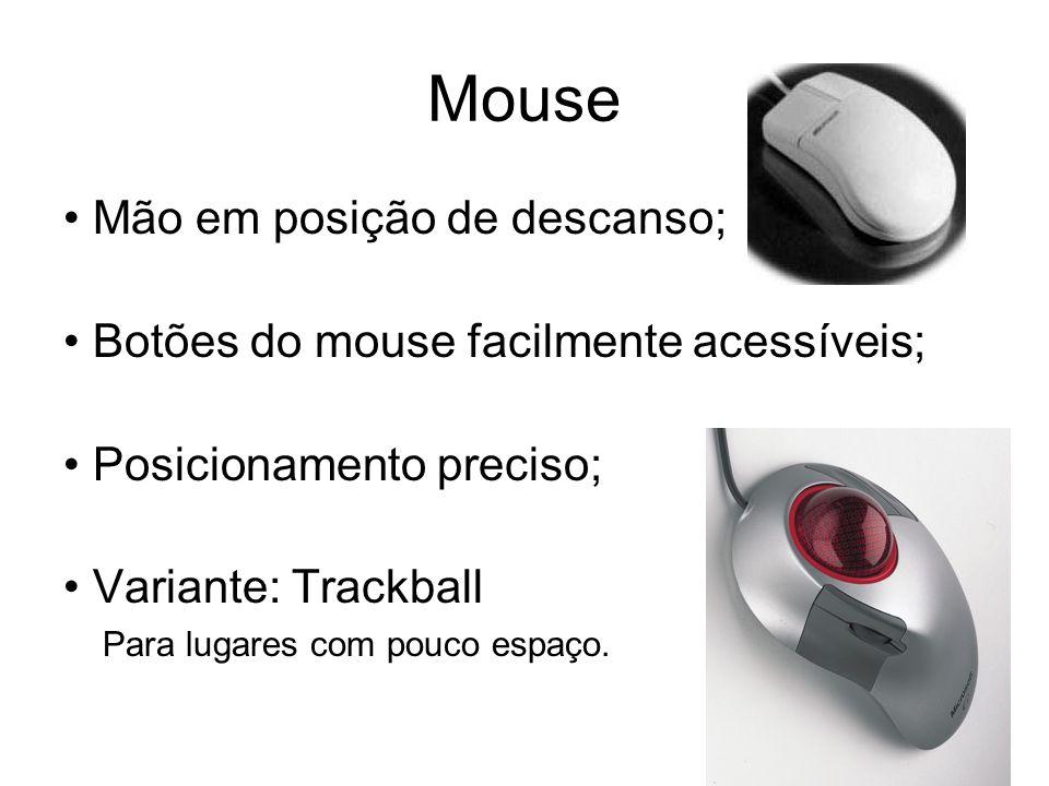 Mouse Mão em posição de descanso; Botões do mouse facilmente acessíveis; Posicionamento preciso; Variante: Trackball Para lugares com pouco espaço.