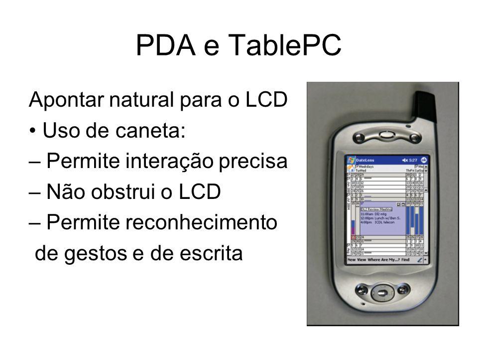 PDA e TablePC Apontar natural para o LCD Uso de caneta: – Permite interação precisa – Não obstrui o LCD – Permite reconhecimento de gestos e de escrit