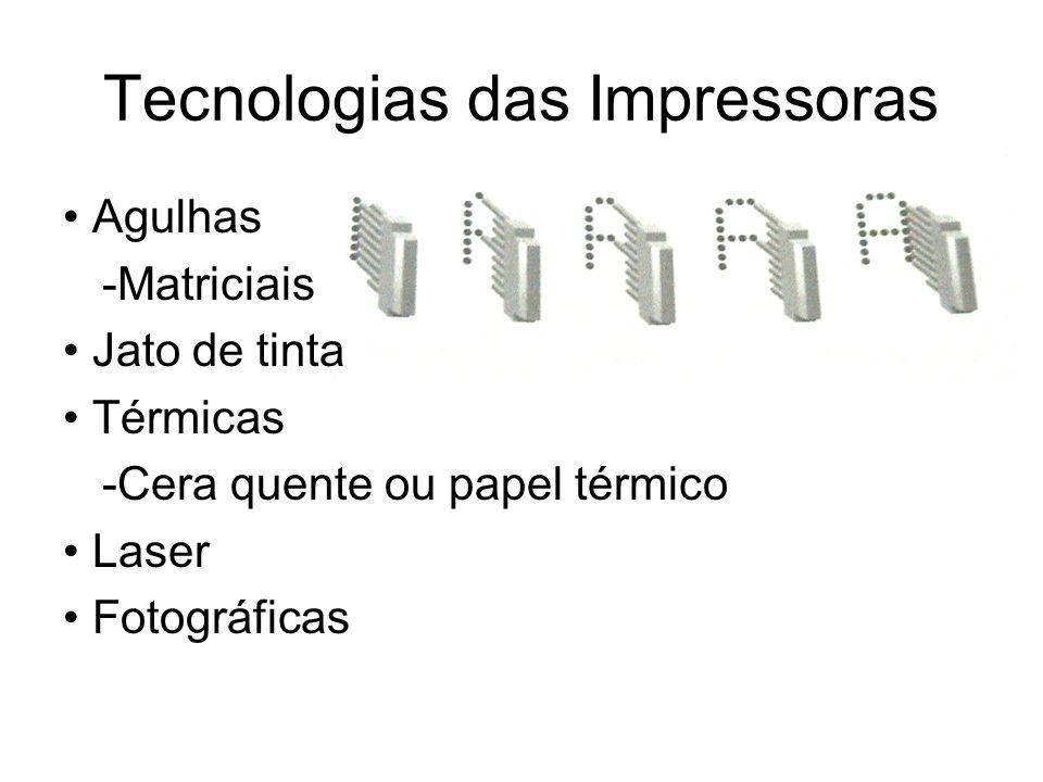 Tecnologias das Impressoras Agulhas -Matriciais Jato de tinta Térmicas -Cera quente ou papel térmico Laser Fotográficas