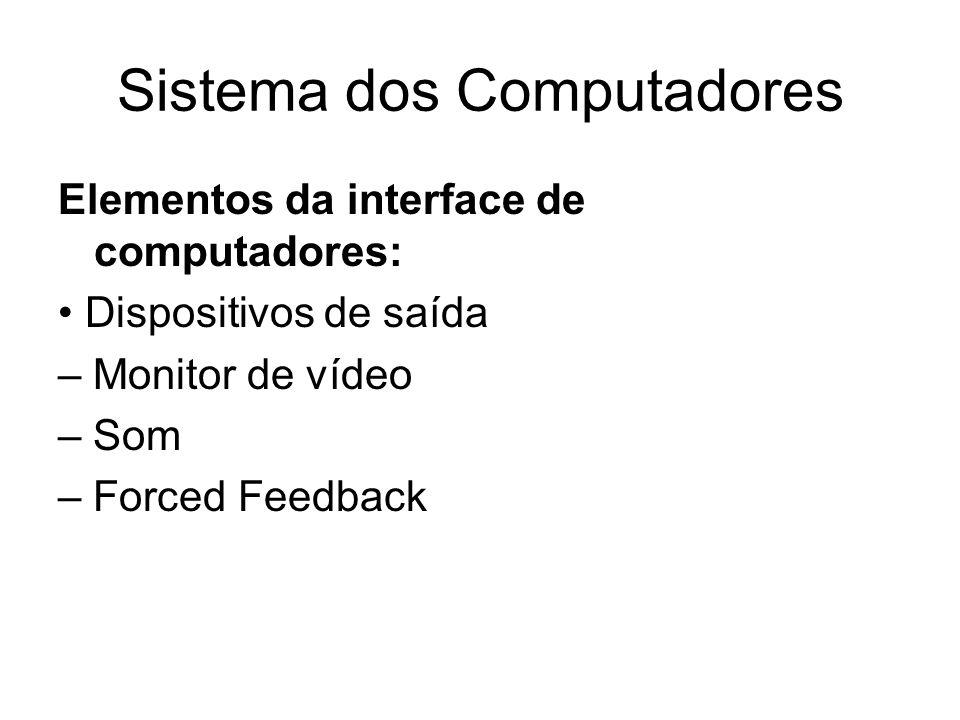Sistema dos Computadores Elementos da interface de computadores: Dispositivos de saída – Monitor de vídeo – Som – Forced Feedback