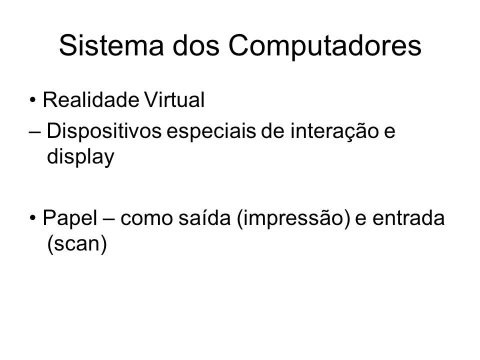 Sistema dos Computadores Realidade Virtual – Dispositivos especiais de interação e display Papel – como saída (impressão) e entrada (scan)