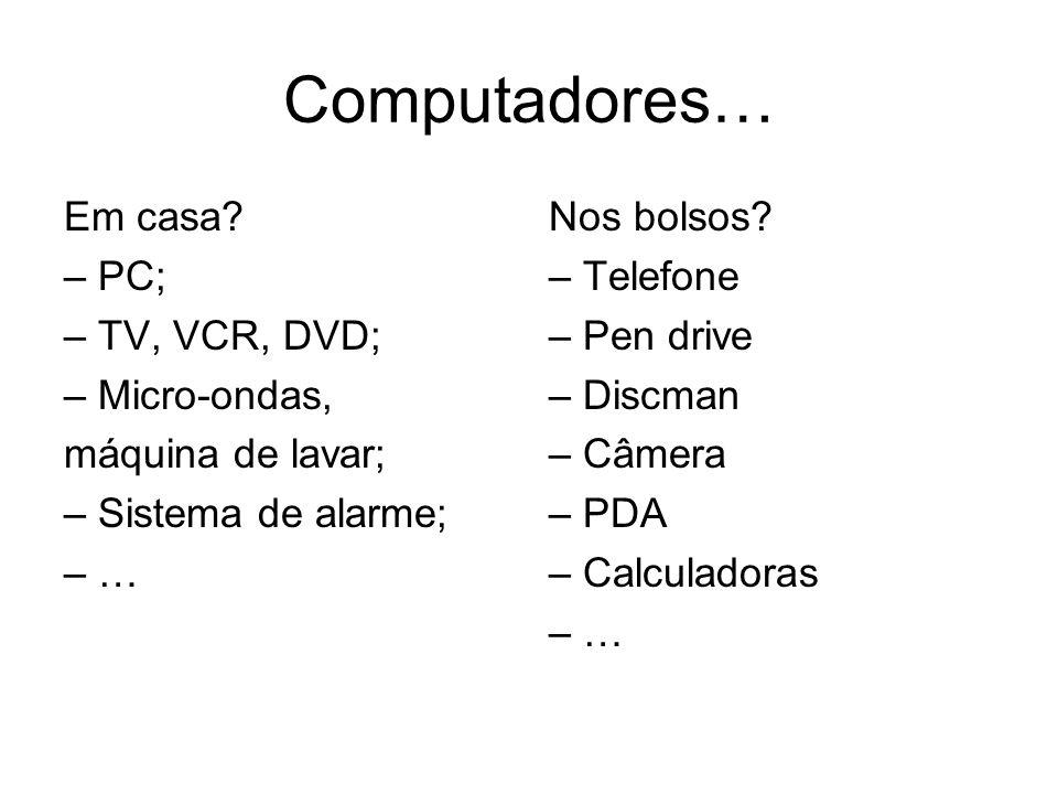 Computadores… Em casa? – PC; – TV, VCR, DVD; – Micro-ondas, máquina de lavar; – Sistema de alarme; – … Nos bolsos? – Telefone – Pen drive – Discman –