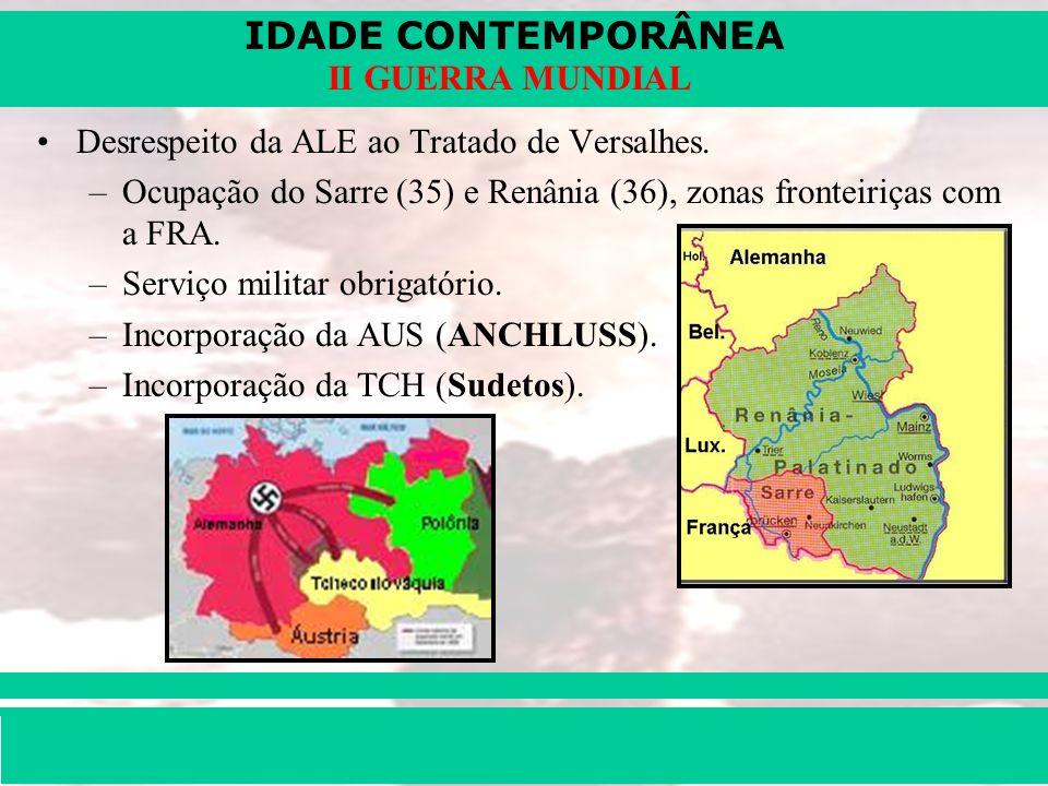 IDADE CONTEMPORÂNEA Prof. Iair iair@pop.com.br II GUERRA MUNDIAL Desrespeito da ALE ao Tratado de Versalhes. –Ocupação do Sarre (35) e Renânia (36), z