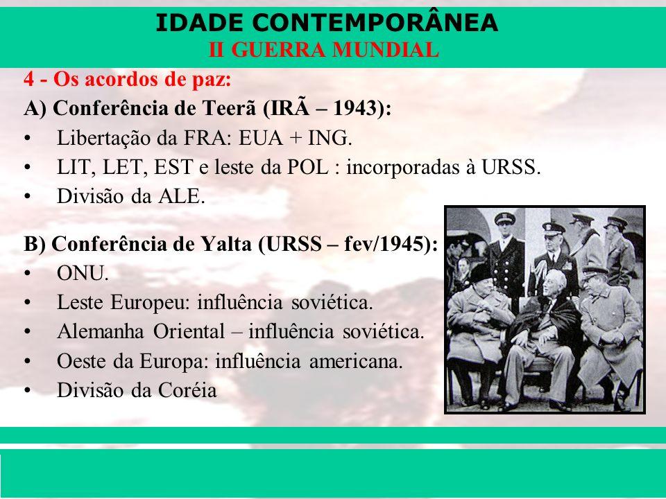 IDADE CONTEMPORÂNEA Prof. Iair iair@pop.com.br II GUERRA MUNDIAL 4 - Os acordos de paz: A) Conferência de Teerã (IRÃ – 1943): Libertação da FRA: EUA +