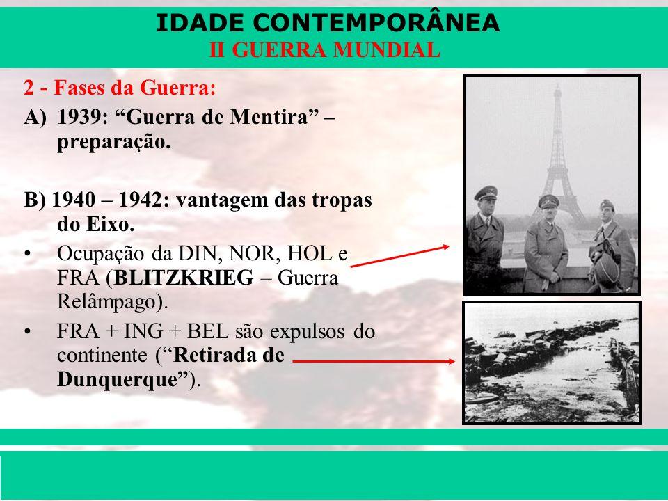 IDADE CONTEMPORÂNEA Prof. Iair iair@pop.com.br II GUERRA MUNDIAL 2 - Fases da Guerra: A)1939: Guerra de Mentira – preparação. B) 1940 – 1942: vantagem