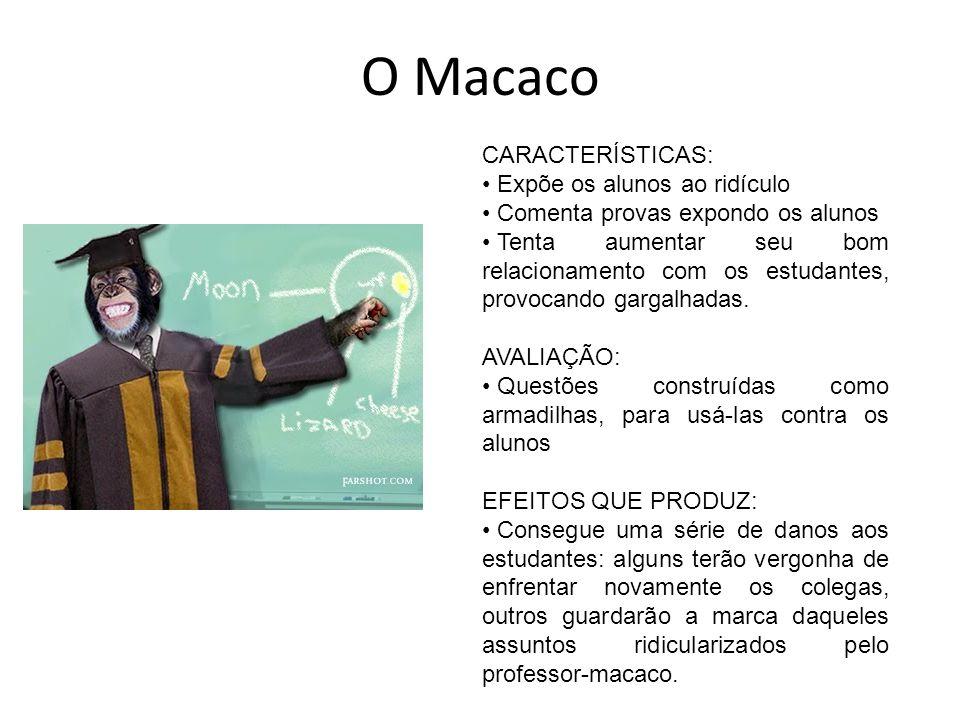 O Macaco CARACTERÍSTICAS: Expõe os alunos ao ridículo Comenta provas expondo os alunos Tenta aumentar seu bom relacionamento com os estudantes, provoc