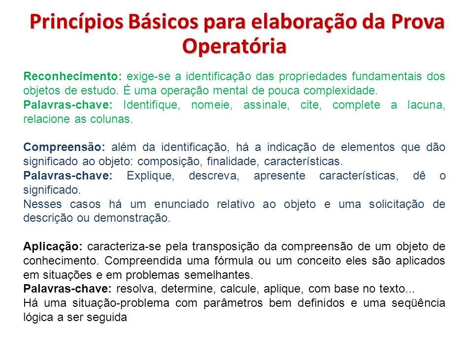 Princípios Básicos para elaboração da Prova Operatória Reconhecimento: exige-se a identificação das propriedades fundamentais dos objetos de estudo. É