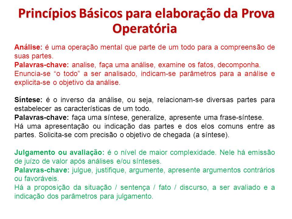 Princípios Básicos para elaboração da Prova Operatória Análise: é uma operação mental que parte de um todo para a compreensão de suas partes. Palavras