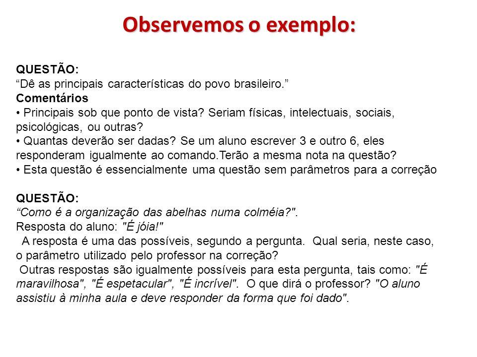 Observemos o exemplo: QUESTÃO: Dê as principais características do povo brasileiro. Comentários Principais sob que ponto de vista? Seriam físicas, int