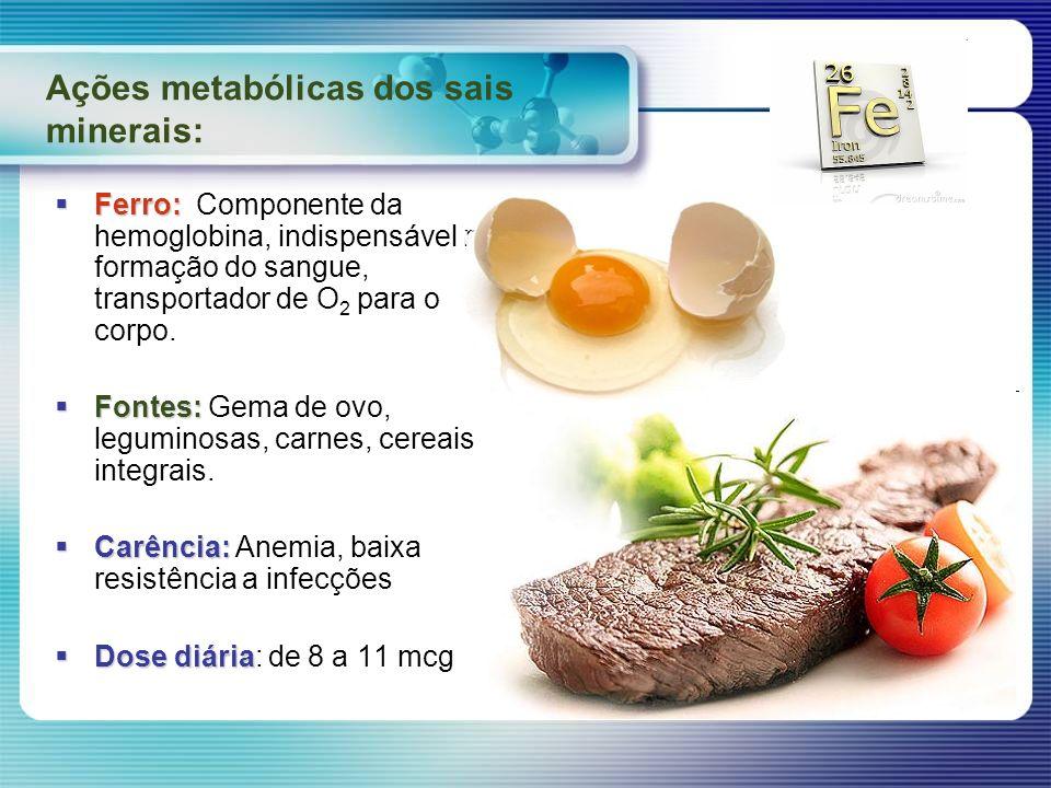 Ações metabólicas dos sais minerais: Ferro: Ferro: Componente da hemoglobina, indispensável na formação do sangue, transportador de O 2 para o corpo.
