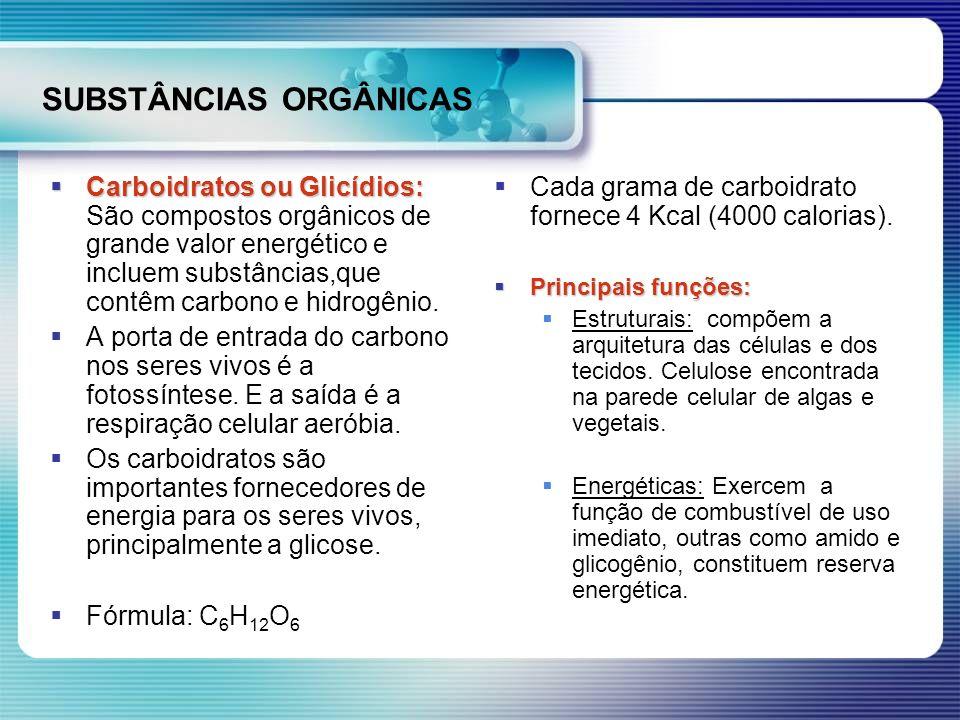 SUBSTÂNCIAS ORGÂNICAS Carboidratos ou Glicídios: Carboidratos ou Glicídios: São compostos orgânicos de grande valor energético e incluem substâncias,q