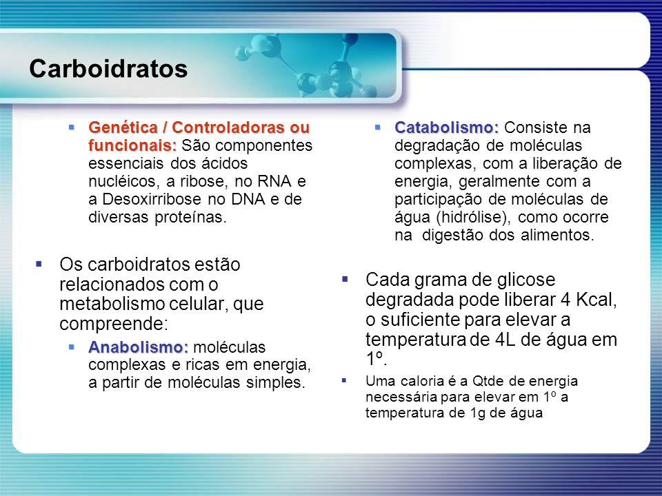 Carboidratos Genética / Controladoras ou funcionais: Genética / Controladoras ou funcionais: São componentes essenciais dos ácidos nucléicos, a ribose