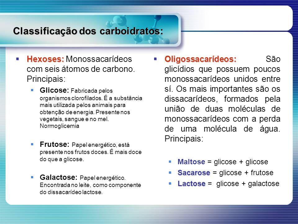 Classificação dos carboidratos: Hexoses: Hexoses: Monossacarídeos com seis átomos de carbono. Principais: Glicose: Fabricada pelos organismos clorofil
