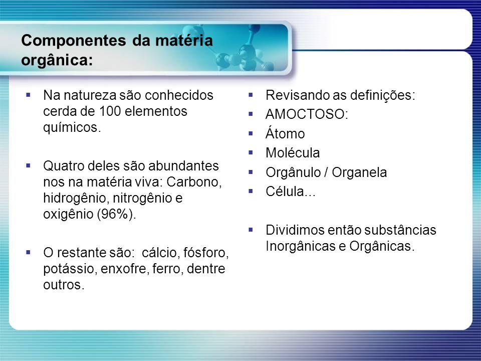 Componentes da matéria orgânica: Na natureza são conhecidos cerda de 100 elementos químicos. Quatro deles são abundantes nos na matéria viva: Carbono,